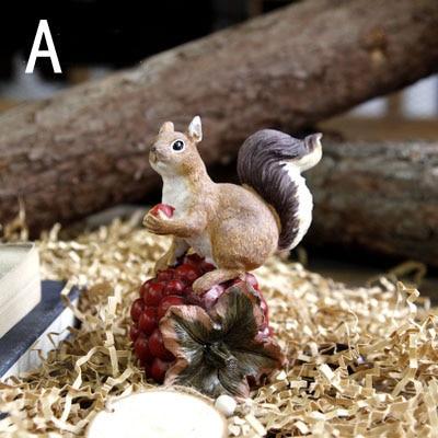 Ameriška podeželska smola veverica z oreščki Umetne figurice - Dekor za dom - Fotografija 3