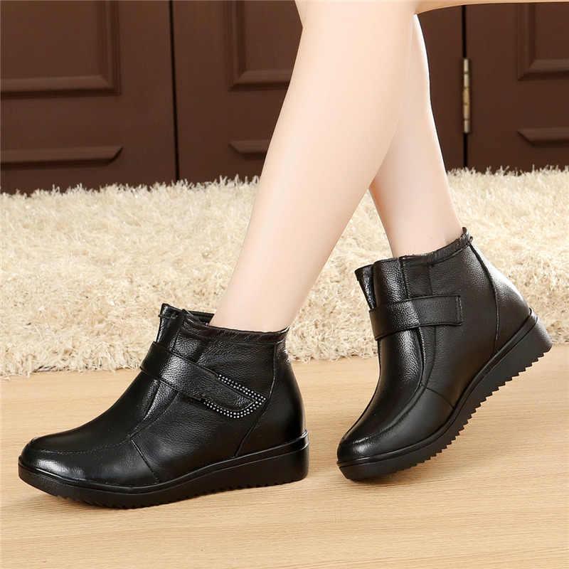 Doğal Yün Kış Ayakkabı Kadın Çizmeler Kadın Hakiki Deri Düz Kar Botları Artı Boyutu Kışlık Botlar yarım çizmeler