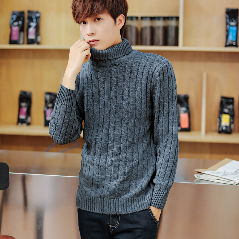 Mens Sweaters Knitwear Slim-Fit Warm Autumn Thick Hot Solid Turtleneck Casual Double-Collar