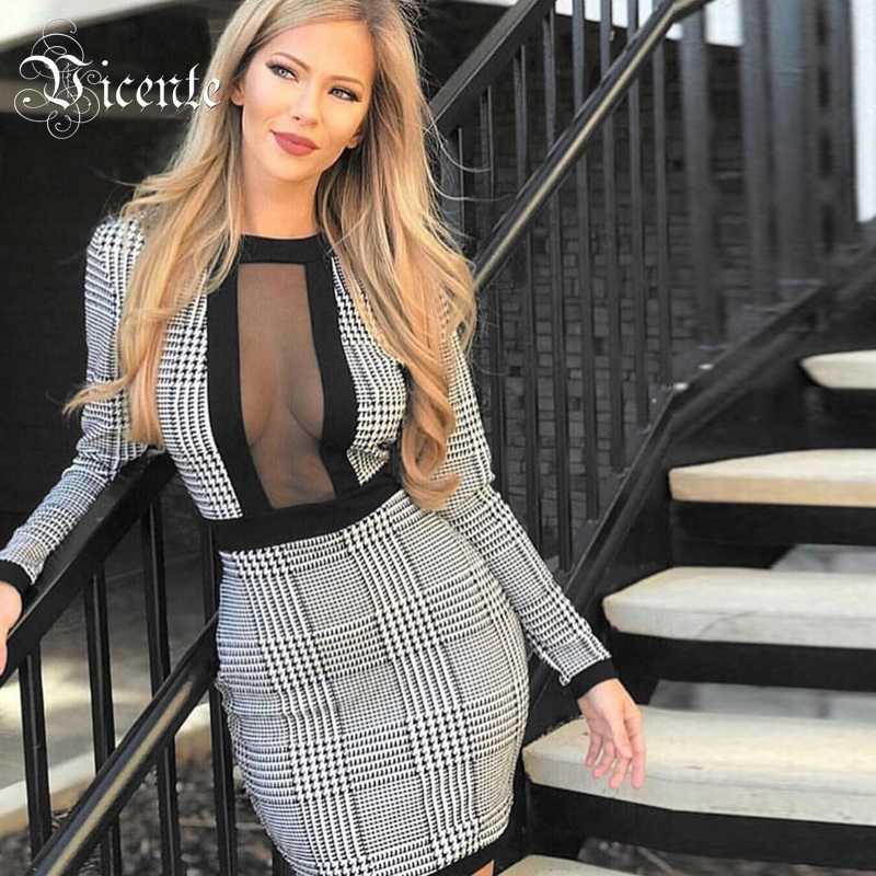 Vicente All Free Shipping HOT 2019 New Stylish Houndstooth Long Sleeves Mesh Splicing Celebrity Party Mini