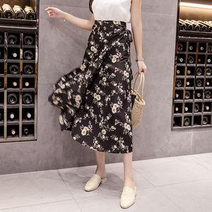 Image 4 - الصيف طباعة زهرة الشيفون النساء تنورة Kawaii الكورية التنانير الإمبراطورية عادية Harajuku منتصف العجل القوس لطيف عالية الخصر Skirts التنانير