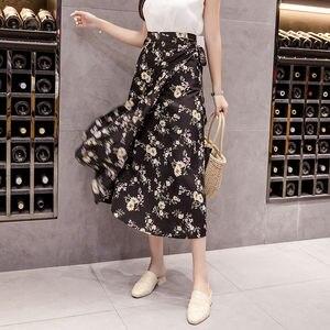 Image 4 - 夏プリント花シフォン女性スカートかわいい韓国カジュアル帝国スカート原宿 Mid ふくらはぎ弓かわいいハイウエストヴィンテージスカート