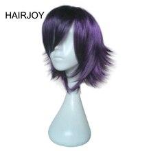 Hairjoy синий фиолетовый короткий прямой Косплэй костюм парик высокого Температура Волокна Синтетические волосы Искусственные парики 4 цвета доступны