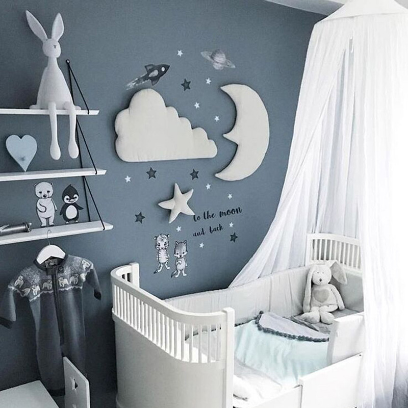 3pcs/set Moon Star Wall Decor INS Nordic Style Cotton Cloud Ornaments Kids Room Decorations Wall Stickers photography props