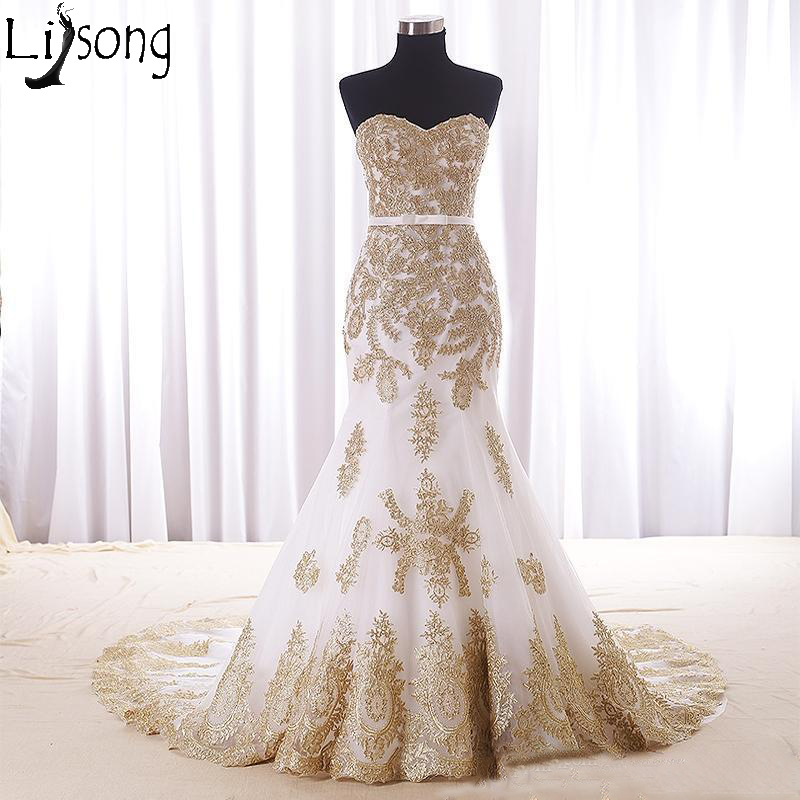 2019 Mermaid White And Gold Wedding Dress Cheap Sweetheart Chapel Train Applique Lace Bride Dress Vestido De Noiva Real Photos