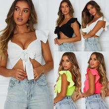 Women Crop Top Shirts Solid Short Sleeve V-neck Tie-Front Top T Shirts knot front v neck striped top