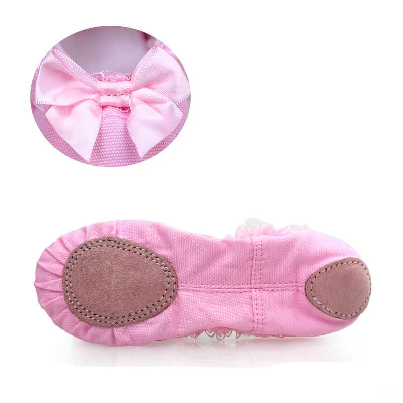Picture of Children Dance Shoes Girls Ballet Shoes Baby Kindergarten Soft Sole Lace Bow Red Practice Dancing Shoes