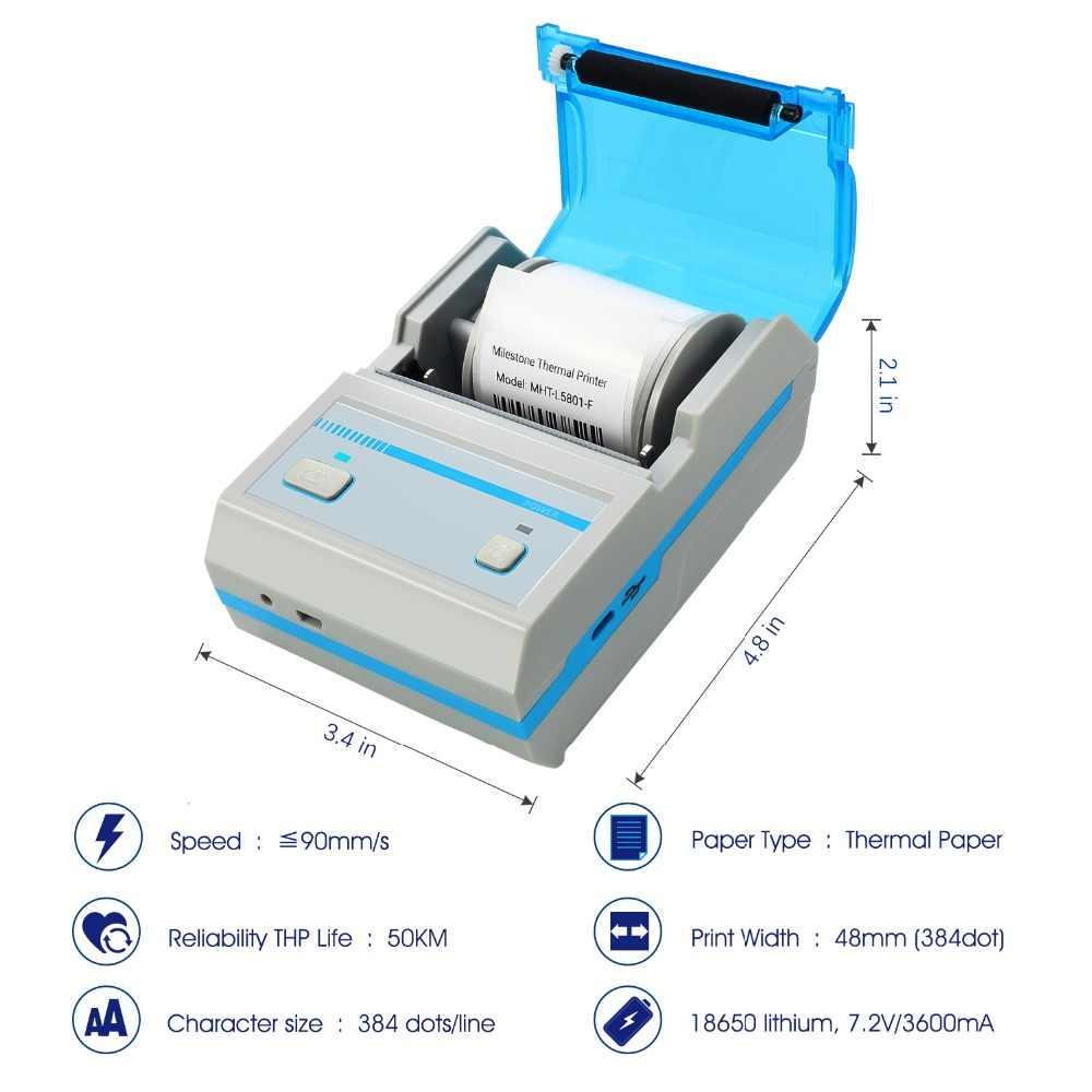Marco impressora de código de barras térmica impressão adesivo MHT-L5801 suporte android ios mini sem fio bluetooth etiqueta fabricante