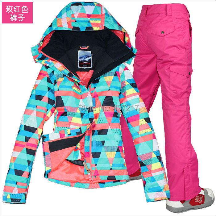 Prix pour 2014 hot femmes mesdames combinaison de ski snowboard vêtements de ski coloré figure géométrique veste et rose rouge pantalon imperméable respirant