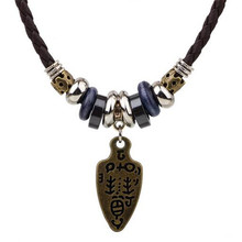 ZOSHI Fashion Long Black Leather Necklace Vintage Design Man Jewelry Punk Wood Beads Biker Men's Pendants Necklaces For Women(China)