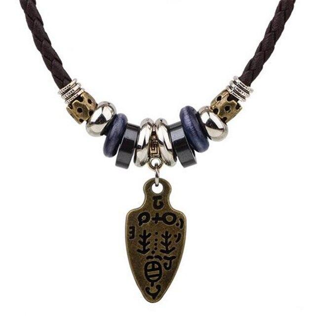 meilleur nouveau style € 1.85 16% de réduction ZOSHI mode Long en cuir noir collier Vintage Design  homme bijoux Punk bois perles Biker hommes pendentifs colliers pour femmes  ...