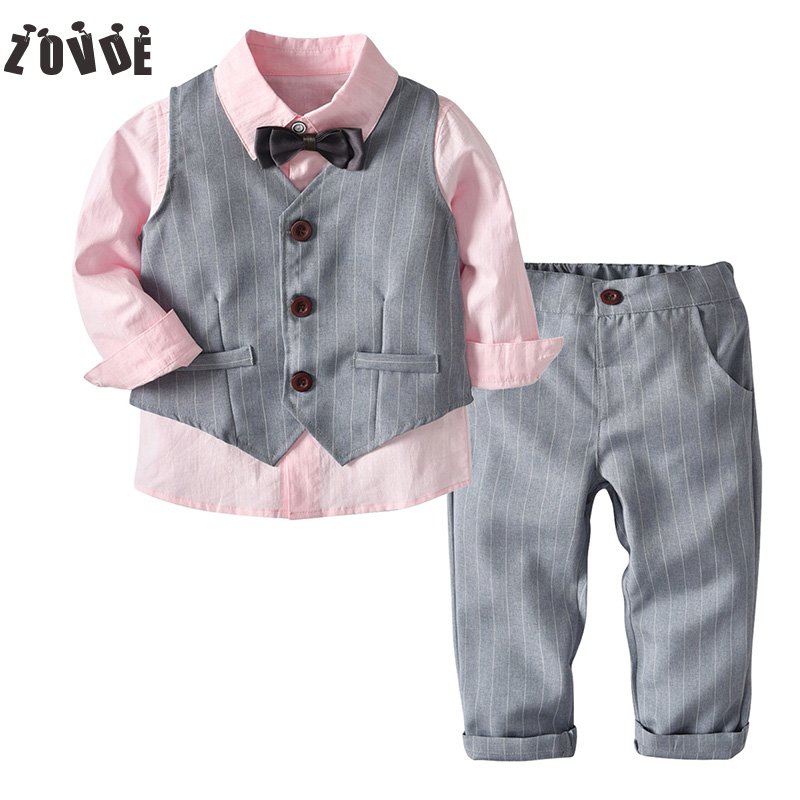 Toddler Boys Clothing 2018 Autumn Kids Clothes Bow Tie Blazers Shirt+Vest+Trousers 3pcs Sets Children Clothing Sets Wedding student performance clothes children clothing sets boys blazers wedding sets pieces boys tuxedo suits