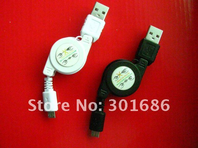 high quality hot sell Micro usb retractable cable  500pcs/lot