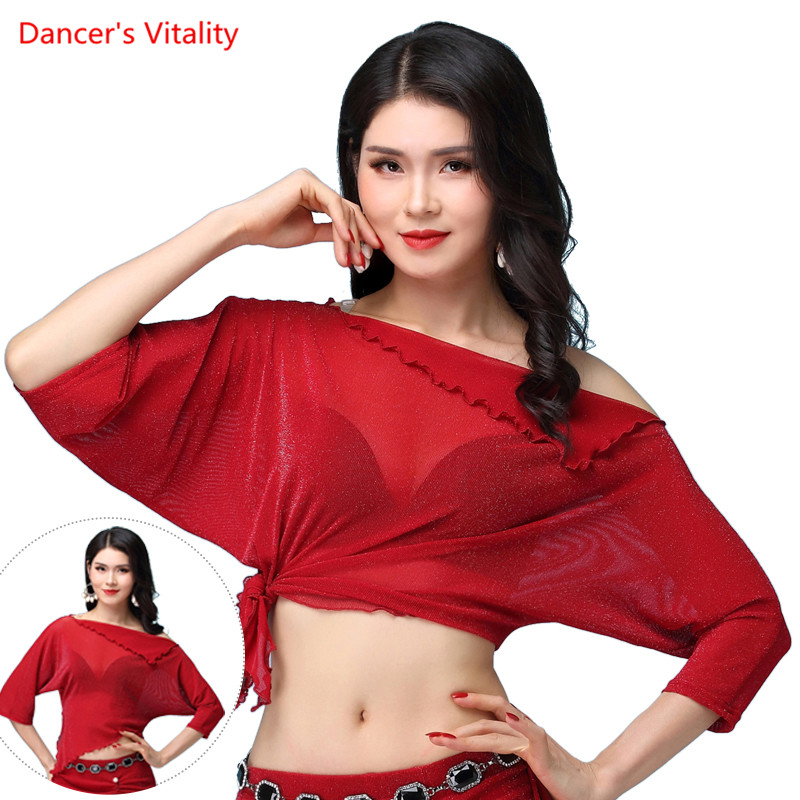 New Dance Top For Girls Belly Dancing Custones Tees Mesh Half Sleeves Clothes Top M,L,XL, Yellow,blue,red,white,green