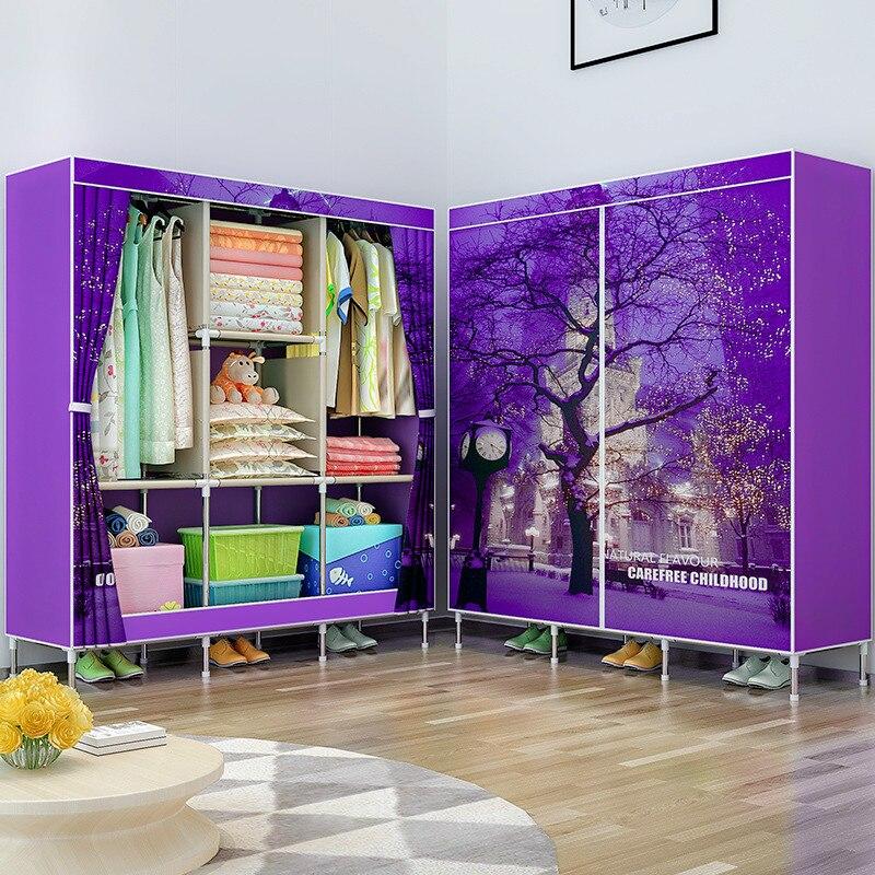 Double pôle vêtements placard robe Rack chambre rangement organisateur armoire Portable pliant tissu armoire pour meubles de maison