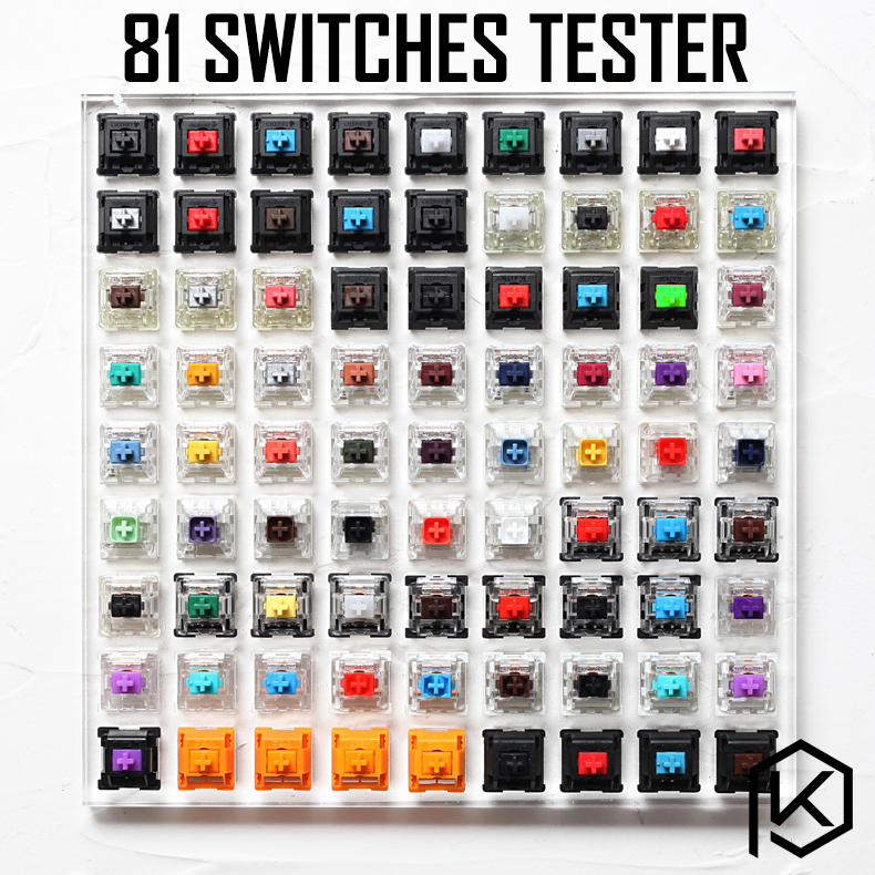 81 switch switches tester with acrylic base blank keycaps for mechanical keyboard cherry kailh gateron outemu