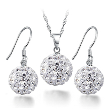 925 Sterling Silver with Platinum Plated Zircon Ball Pendant Necklace + Drop Earrings Jewelry Sets Free Shipping (SS001)