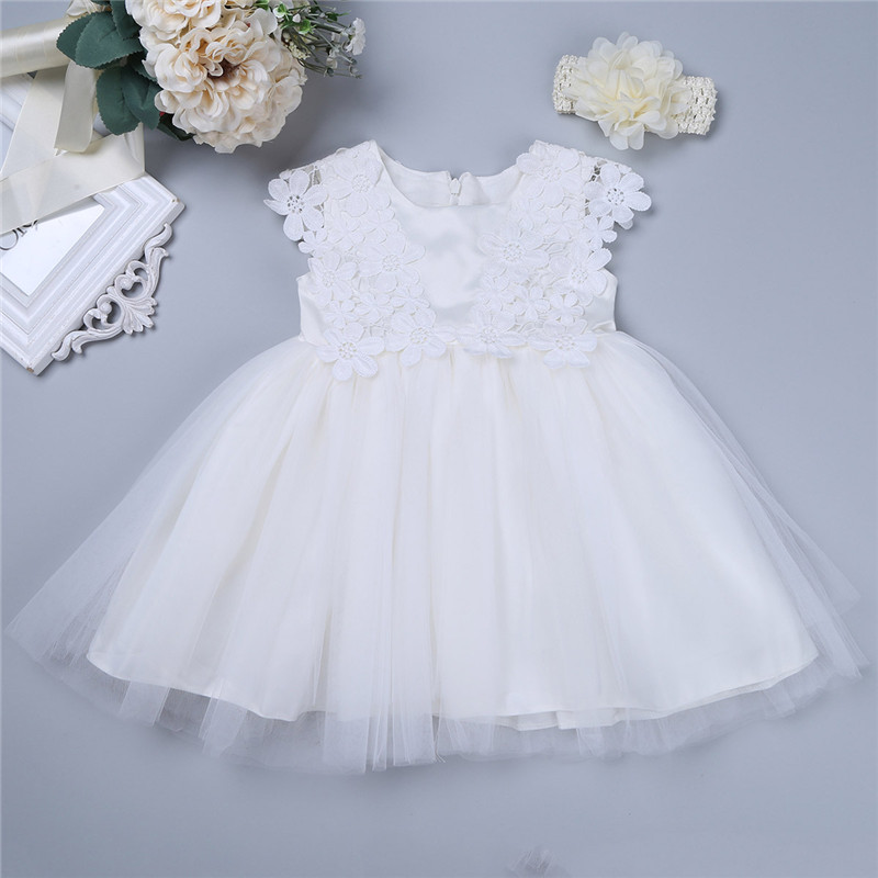 New Baby Toddler Girls Infant Ivory Dress Pageant Birthday Wedding Party Flower