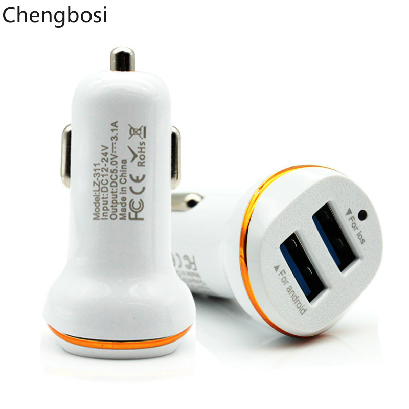 2 USB Car Charger Output 5V 3.1A Max Fast Charging Power Charger Adapter for Samsung Xiaom