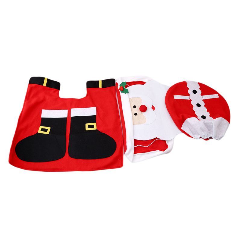Santa Claus Christmas Oldman Toilet Set Seat Case Rug Non-slip Mat Bathroom Tools Xmas Ornament for Home