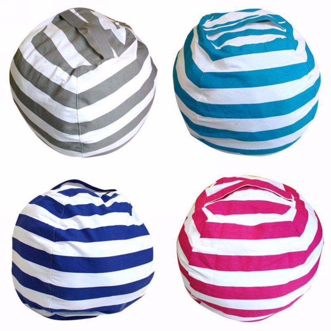 2018 Cotton Kids Stuffed Animal Plush Toy Storage Bean Bag Soft Pouch Stripe Fabric Chair