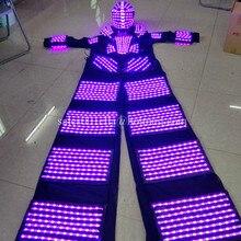 2 Pcs Multicolor font b LED b font Luminous Stilt Robot Costume With font b LED