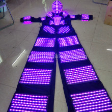 2 Pcs Multicolor LED Luminous Stilt Robot Costume With LED Helmet And Stilts Growing Light Kryoman Robot Suit Clothes