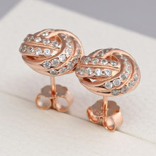 555317886 Authentic 925 Sterling Silver Earring Rose Sparkling Love Knot With Crystal Stud  Earring For Women Wedding Gift Pandora Jewelry