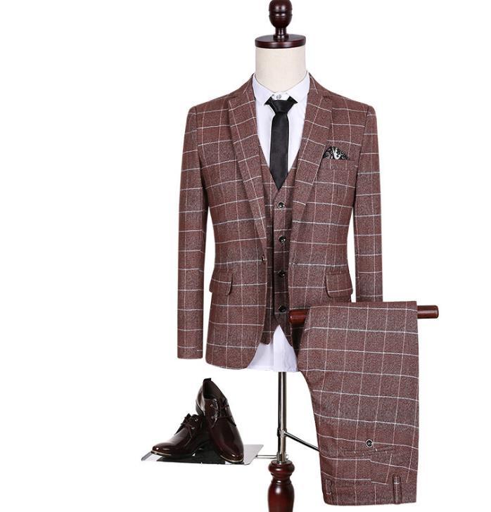 Blazer männer formale kleid neuesten mantel-hose designs anzug männer business casual beliebten raster ehe hochzeit anzüge für männer mode