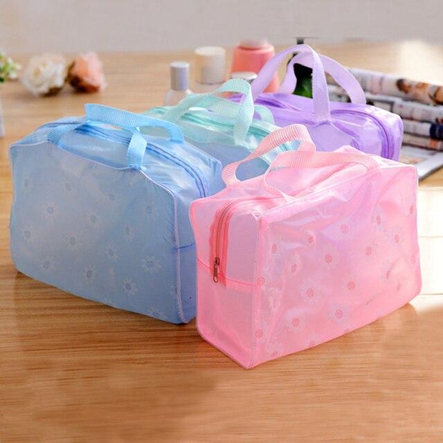 Bonito bolsa de maquiagem à prova d' água Essencial saco de banho saco de lavagem bolsa de maquiagem à prova d' água à prova d' água transparente 1 pcs