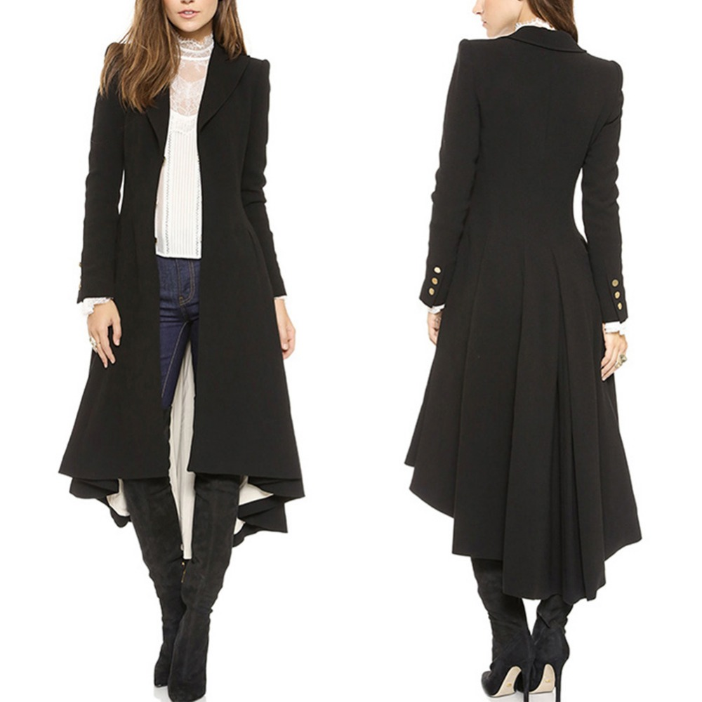 Fashion women long Dovetail black trench elegant slim plus size peplum maxi poncho coat femme ruched button trench outwear