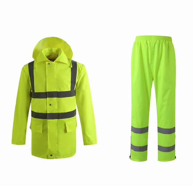 1 Set Unisex Safety High Visibility Reflective Raincoat Traffic Clothing For Workwear, Security staff