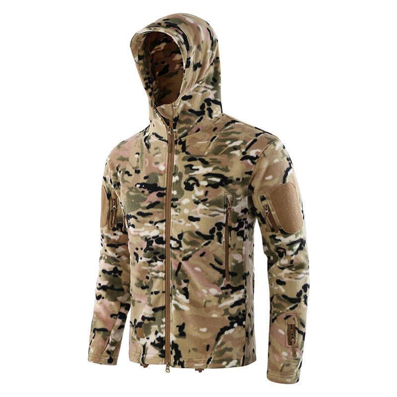 戦術フリースジャケット男性暖かい帯電防止冬春屋外服スポーツ迷彩クライミングハイキングハンティングジャケット男性