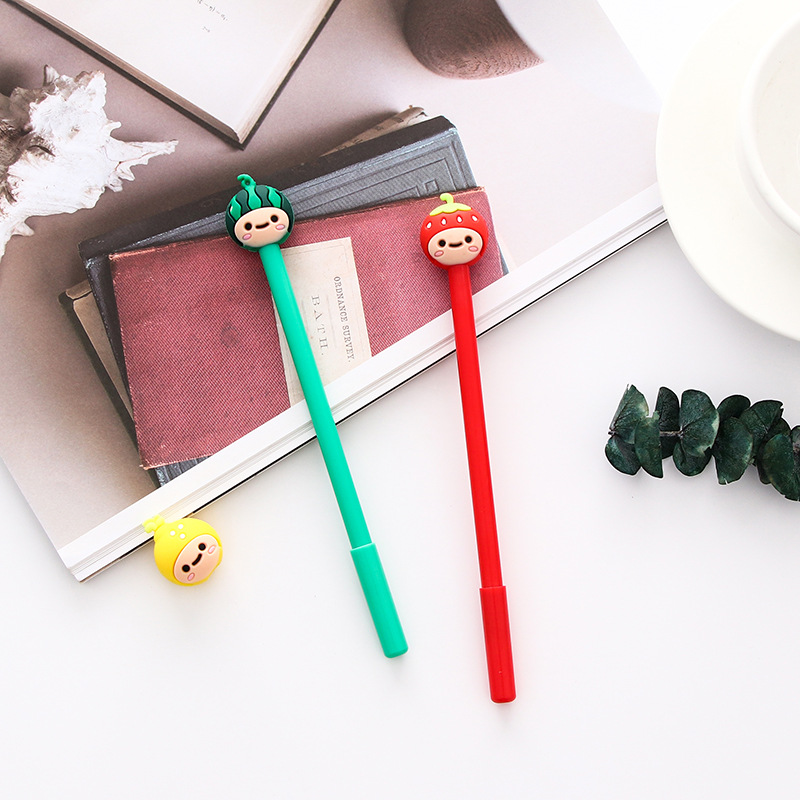 0 5mm Cute Kawaii Fruit doll head Gel Pen Signature Pens Escolar Papelaria For Office School Writing Supplies Stationery Gift in Gel Pens from Office School Supplies