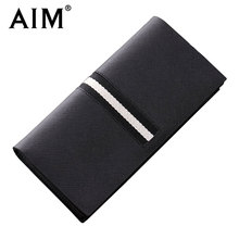 AIM Men's Casual Long Wallets Split Leather Famous Brand Design Business id Card Holder Men Patchwork Standard Wallet