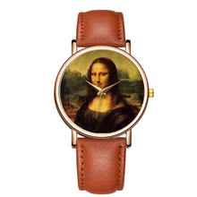 B-9092 Trend Design Mona Lisa Dial Wrist Watches Men Quartz Leather Mens Sports Watch Stainless Steel Back