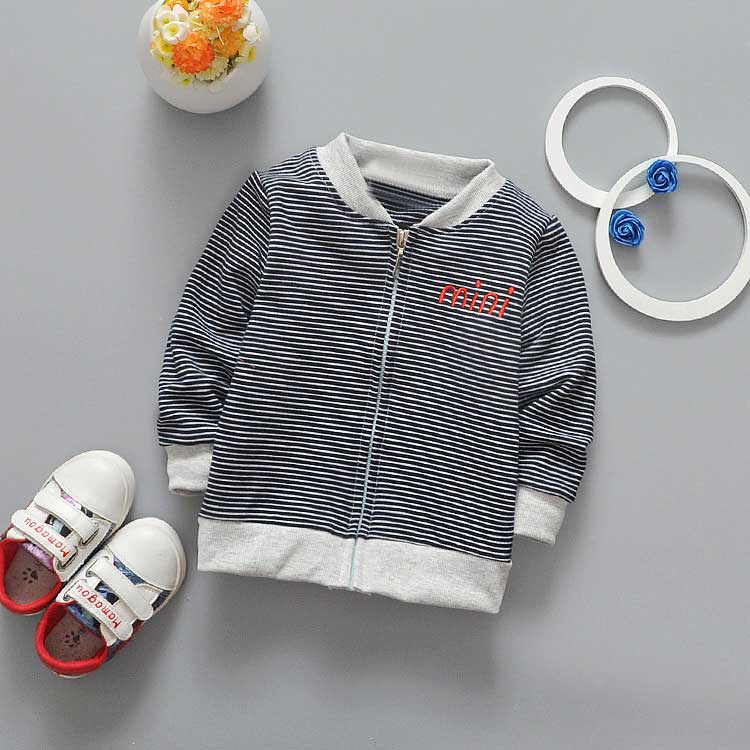 New Spring Autumn Fashion baby kids Boys Letter Striped o-neck Baseball Cardigan Coat Children Outwear Y1384
