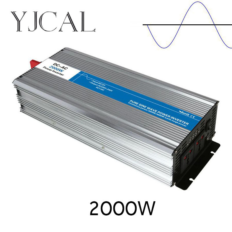 Pure Sine Wave Inverter 2000W Watt DC 12V To AC 220V Home Power Converter Frequency USB Converter Electric Power Supply