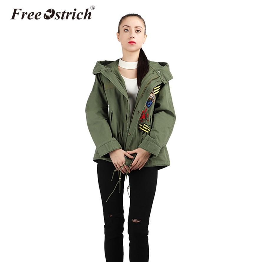 Noir Feminina Femmes Broderie 2018 De Hiver Militaire Style Moto À Green army Veste Libre Manteau Capuche Autruche Streetwear Automne Oct1930 Y5TqIw6wx