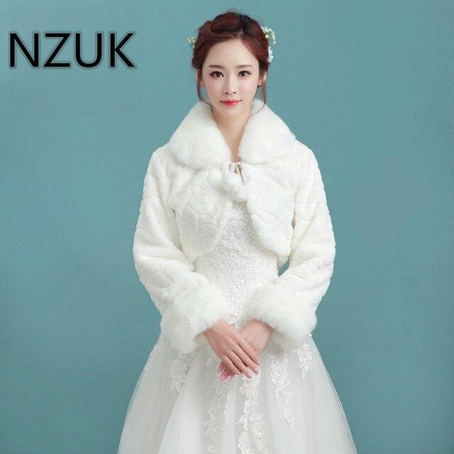 NZUK White Short Wedding Jacket Wraps with Long Sleeves for Bridal ...