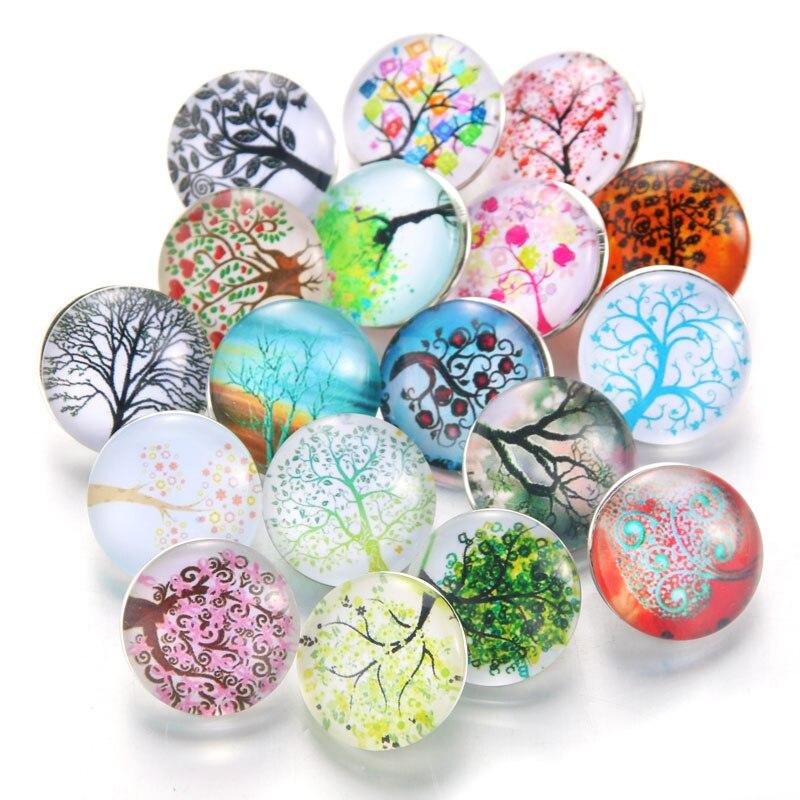10 шт./лот, смешанные цвета и узор, 18 мм, стеклянные кнопки, ювелирное изделие, граненое стекло, оснастка, подходят, оснастки, серьги, браслет, ювелирное изделие - Окраска металла: 020912