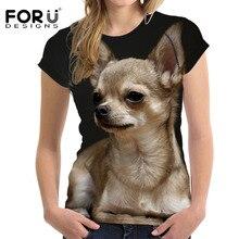 FORUDESIGNS Kawaii Chihuahua Female T Shirt for Women Summer Top Tees Shirt Dog Short Sleeve Tshirt Woman T-shirt Girls Shirts