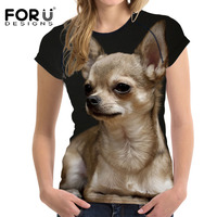 FORUDESIGNS Kawaii Chihuahua Female T Shirt For Women Summer Top Tees Shirt Dog Short Sleeve Tshirt