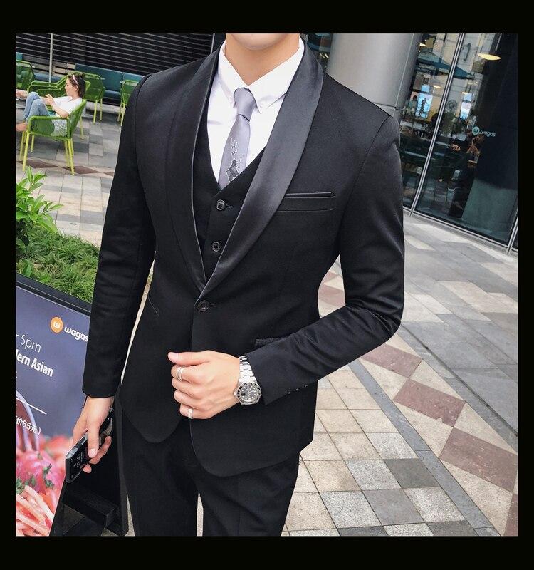 f4c8d2e3117d5 Compre Prepare Boda Traje Blanco Con Contraste Collar Negro Hombres ...