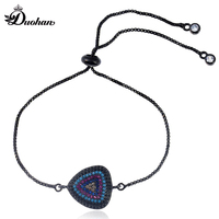 Duohan Simple Triangle Multicolor Zircon Pendant Copper Link Bracelet For Women Fashion Career Female Adjustable Stacking