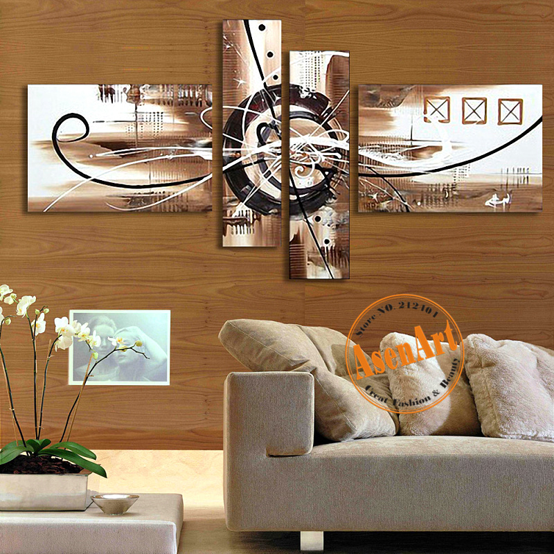 hand painted canvas oil painting abstract wall art 4pcs home decor picture sets large cheap canvas art for living room no frame