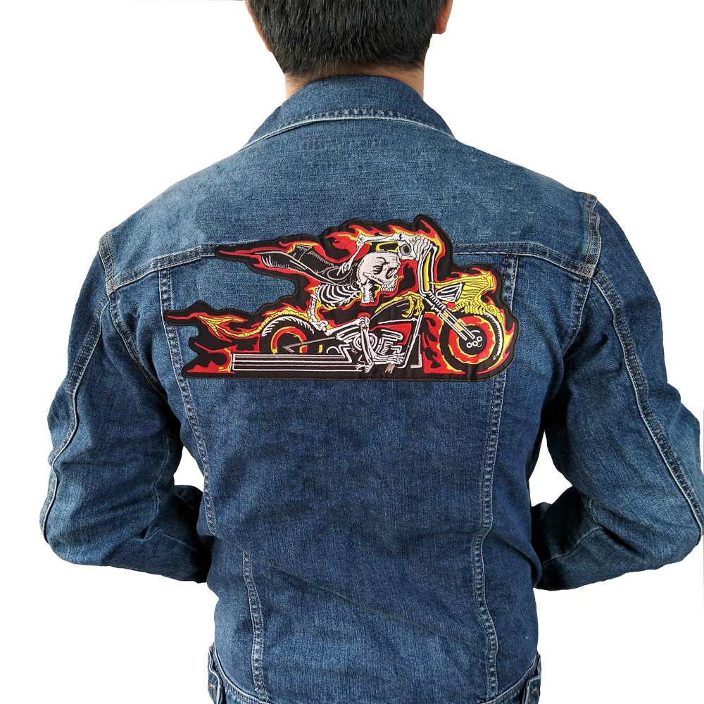 fire motorcycle Iron On Patch Embroidered Applique Sewing Label punk biker Patches Clothes Stickers Apparel Accessories Badge