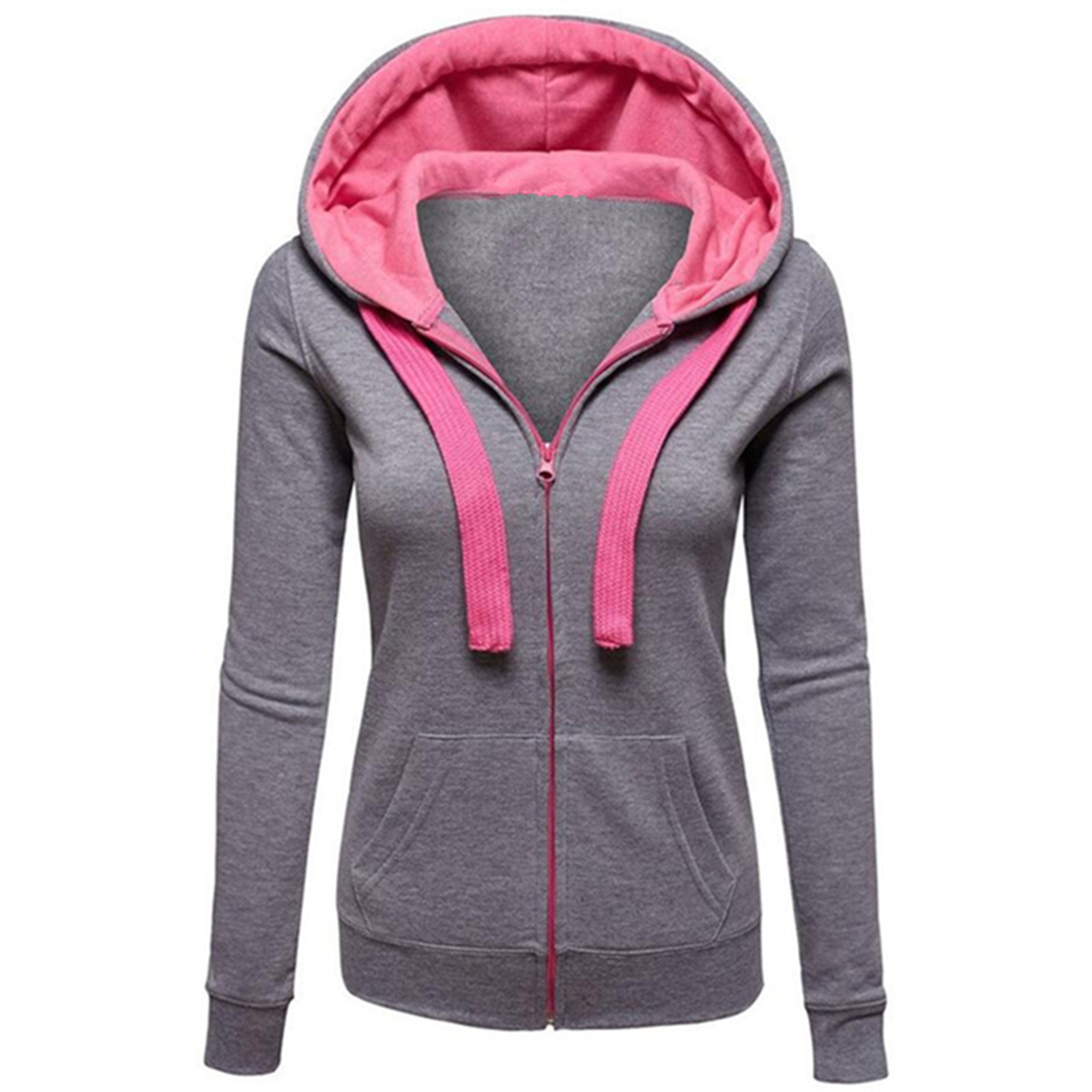 2017 Fashion Women Spring Hooded Zipper Sweatshirt Candy Colors Design Hoodies Casaul Long Sleeve Top Sweatshirt