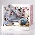 Diy criativo à casa de boneca em miniatura brinquedo casa de bonecas modelo de enviar amigos presente de aniversário deseja