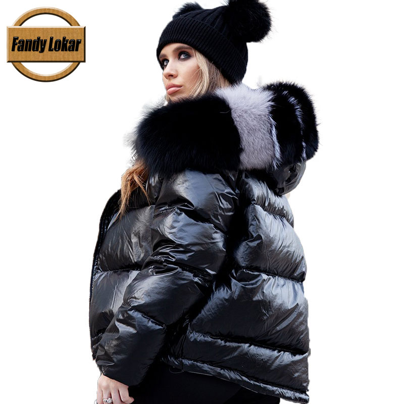 Fandy Lokar White Duck Down Jackets Women Winter Warm Real Big Fox Fur Hooded Coats Overcoat